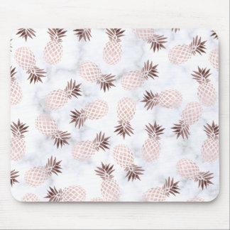 elegant modern white marble rose gold pineapple mouse pad