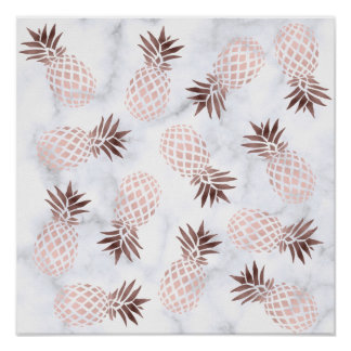elegant modern white marble rose gold pineapple poster