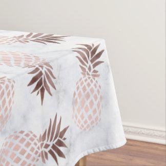 elegant modern white marble rose gold pineapple tablecloth