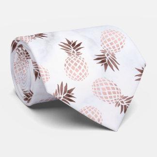 elegant modern white marble rose gold pineapple tie