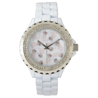 elegant modern white marble rose gold pineapple watch