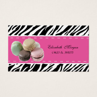 Elegant Modern Zebra Print ,French  Macaron Business Card