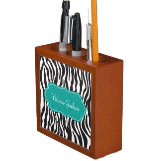 Elegant Modern Zebra Print Teal Desk Organizer