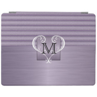 Elegant Monogram Amethyst Brush Steel iPad Cover