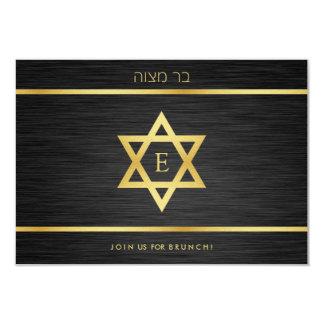 Elegant Monogram Black & Gold Bat mitzvah Brunch Card