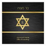 Elegant Monogram Black & Gold Bat mitzvah Invitation
