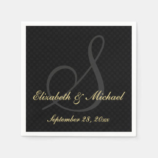 Elegant Monogram Black Golden Wedding Paper Napkin