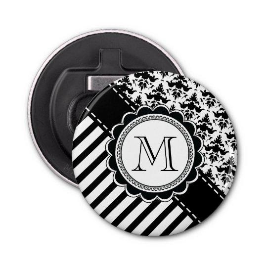 Elegant Monogram Black n White Stripes and Damask Button Bottle Opener