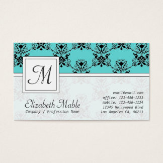 Elegant Monogram Blue and Black Damask Print Business Card