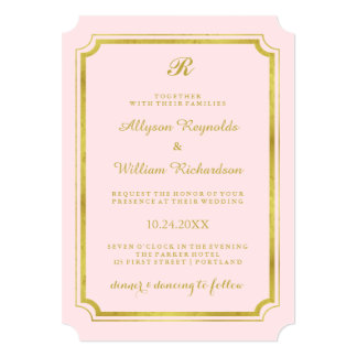 "Elegant Monogram Blush Pink and Faux Gold Wedding 5"" X 7"" Invitation Card"