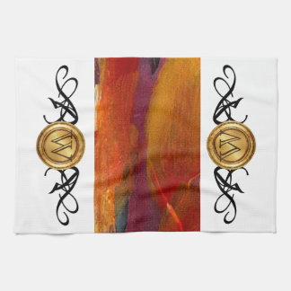 Elegant Monogram Colorful Abstract Art Burgundy Kitchen Towel