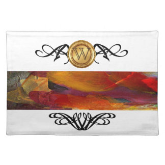 Elegant Monogram Colorful Abstract Art Burgundy Placemat