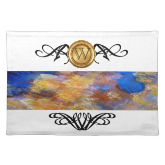 Elegant Monogram Colorful Abstract Art Gold Blue Placemat