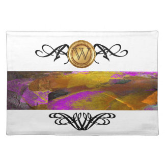 Elegant Monogram Colorful Abstract Art Purple Placemat