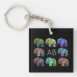 Elegant monogram colorful ornamental elephants keychain