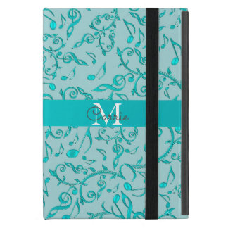 Elegant Monogram Cyan Music Notes iPad Mini Case