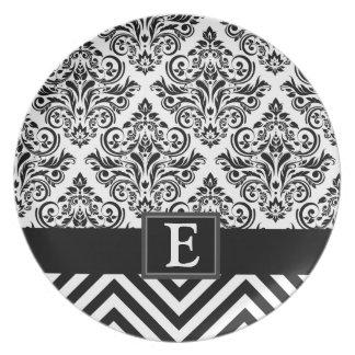 Elegant Monogram Damask Chevron Designer Party Dinner Plates