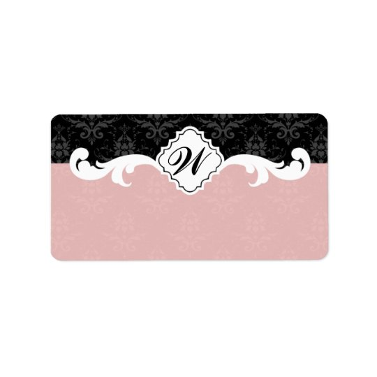 Elegant Monogram Damask Label