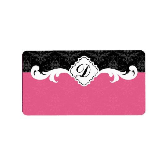 Elegant Monogram Damask Label