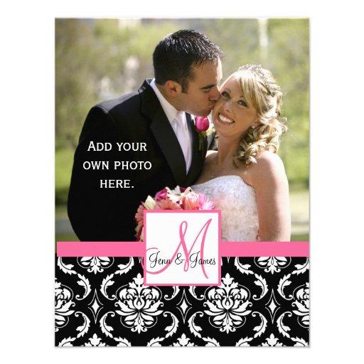 Elegant Monogram Damask  Wedding Photo Thank You Custom Announcements