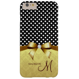 Elegant Monogram Dots Pattern Gold Ribbon Diamond Barely There iPhone 6 Plus Case