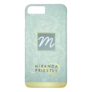 Elegant Monogram Faux Gold Turquoise Damask Floral iPhone 8 Plus/7 Plus Case
