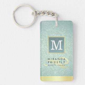 Elegant Monogram Faux Gold Turquoise Damask Floral Keychain