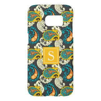 Elegant Monogram Filigree Paisley Swirls Turquoise Samsung Galaxy S7 Case