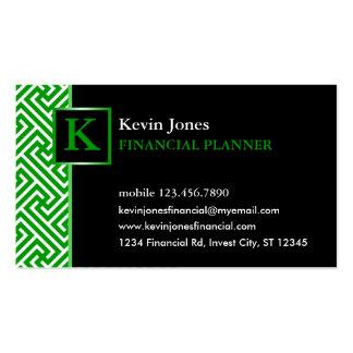 Elegant Monogram Financial Planner Business Card