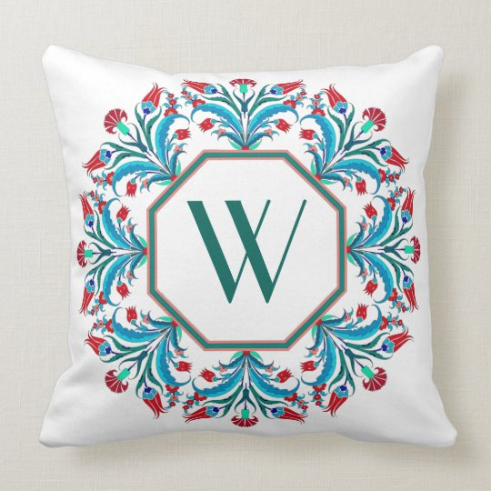 Elegant Monogram Floral Design Pillow