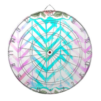 Elegant Monogram Floral pink and blue Dartboard