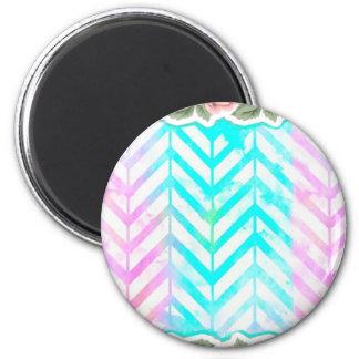 Elegant Monogram Floral pink and blue Magnet
