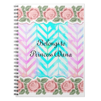 Elegant Monogram Floral pink and blue Note Book
