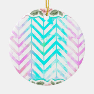 Elegant Monogram Floral pink and blue Round Ceramic Ornament