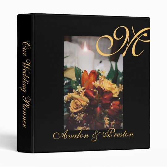 Elegant Monogram Floral Wedding Planner Binder