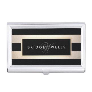 Elegant Monogram Gold and Black Striped Pattern Case For Business Cards