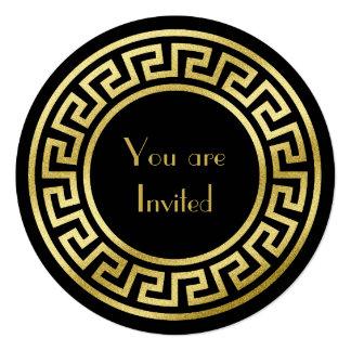 Elegant Monogram Gold Glitter Art Deco Black Card