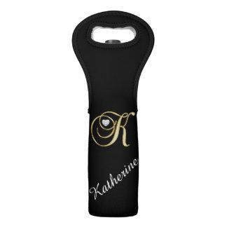 Elegant Monogram Gold Initial K Faux Diamond Black Wine Bag