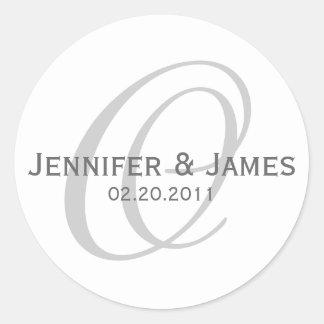 Elegant Monogram Grey White Wedding Sticker