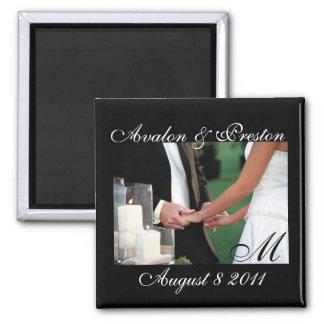 Elegant Monogram Hands Save The Date Magnet