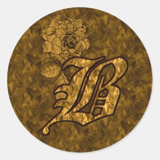 Elegant Monogram Initial B Gold Peony Sticker