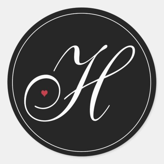 Elegant Monogram Letter H with heart Classic Round Sticker