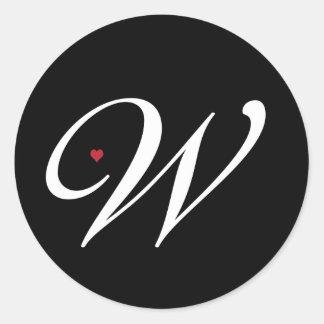Elegant Monogram Letter W with heart Classic Round Sticker