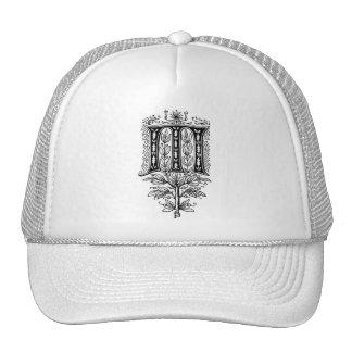 Elegant Monogram M Fancy Letter Mesh Hats