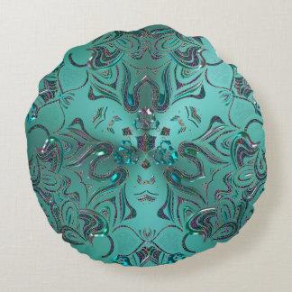 Elegant Monogram Mandala Space Fantasy Round Pillow