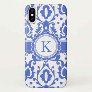 Elegant Monogram Moroccan Blue Damask Case-Mate iPhone Case