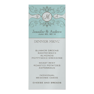 "Elegant Monogram Names Wedding Menu Card Silver 4"" X 9.25"" Invitation Card"
