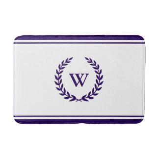 Elegant Monogram Navy Blue On White Bath Mat