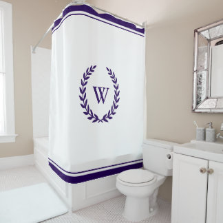 Elegant Monogram Navy Blue White Shower Curtain