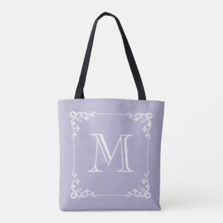 Elegant Monogram Pastel Purple or ANY COLOR Tote Bag